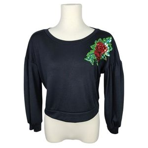2/$40* Boohoo Black Top with Sequin Rose Large